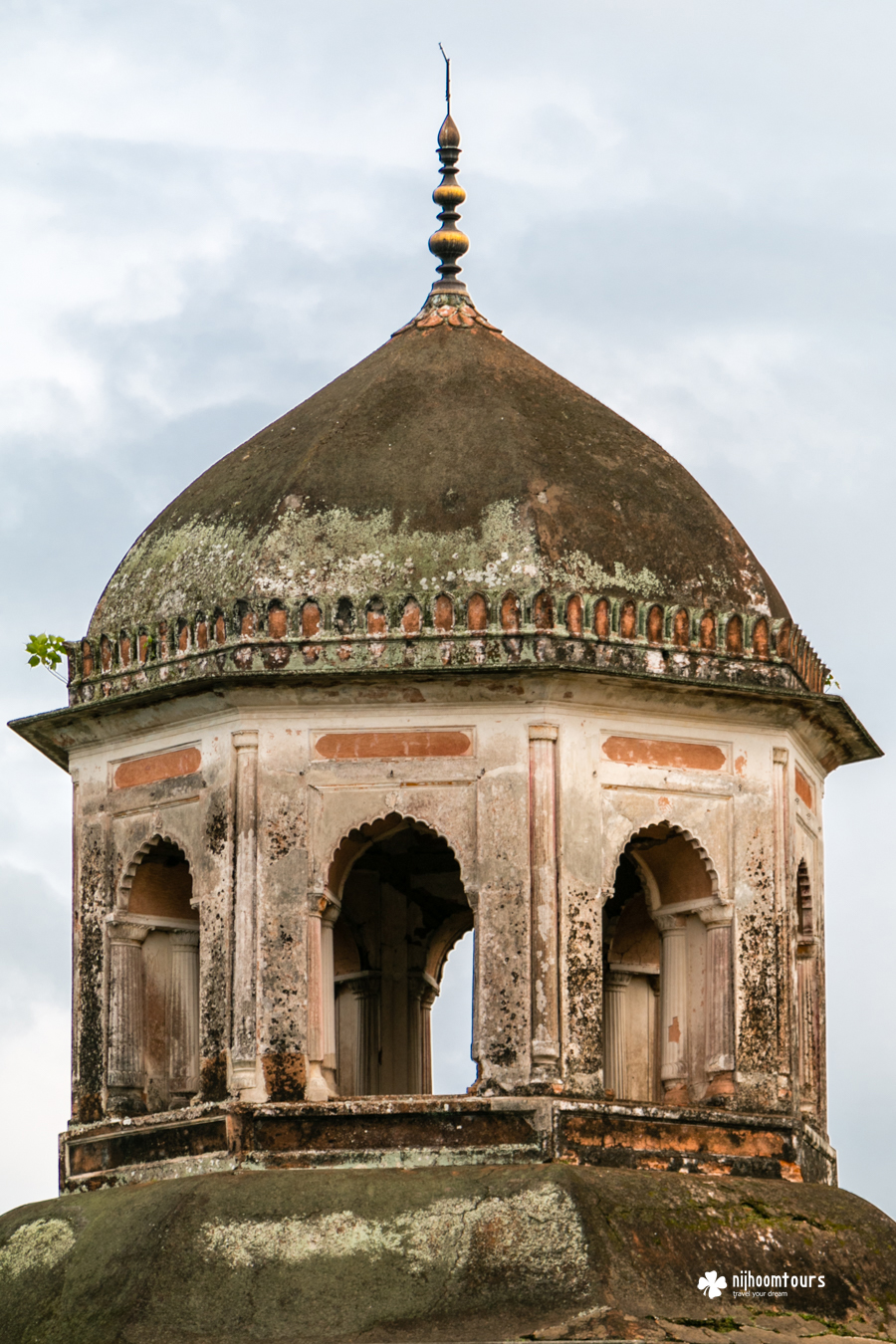 The single tapering tower of Jagannath temple in Puthia, Bangladesh.