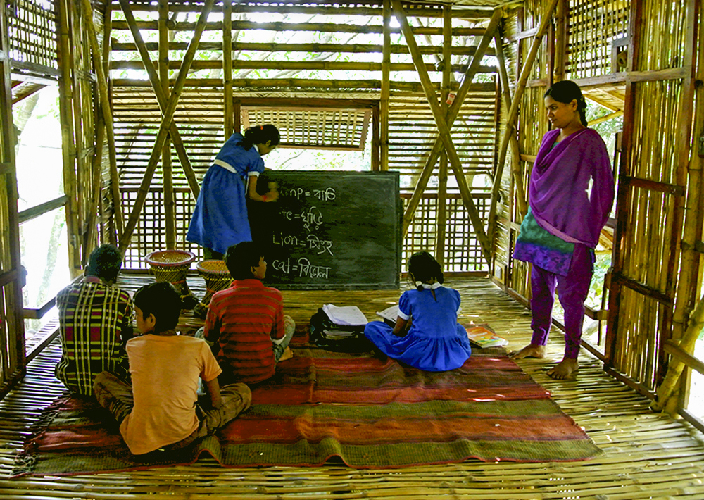 Children being taught English on a school at Sonargaon in Bangladesh.
