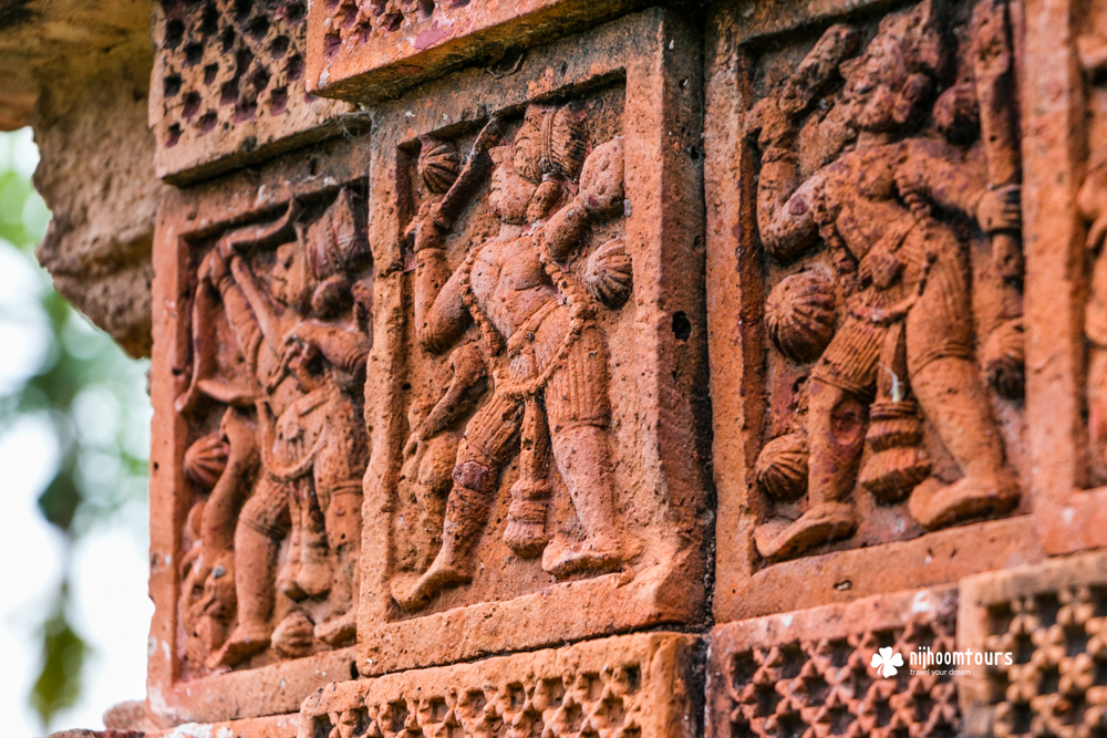Terracotta works at Pancharatna Gobinda Temple, a magnificent Hindu temple at Puthia in Bangladesh.