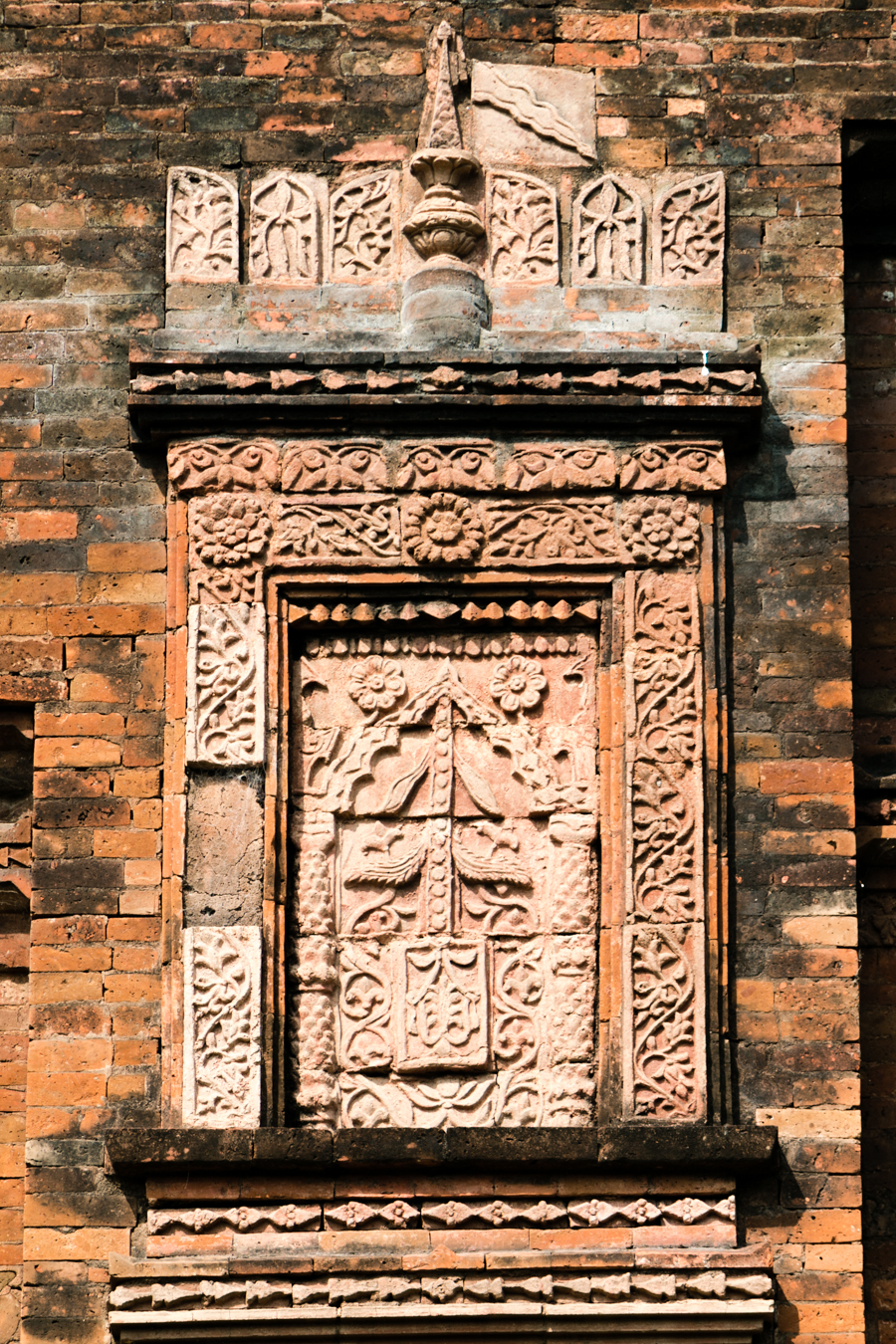 Terracotta design in the exterior wall of Darasbari Mosque, the third largest mosque of Gaur, the ancient capital of Bengal.