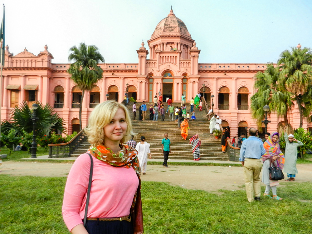 In Ahsan Manzil, a beautiful palace from colonial period in Bangladesh.