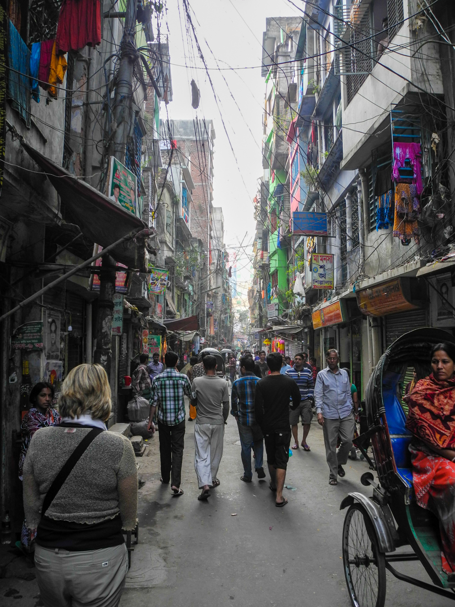 A narrow street in Old Dhaka